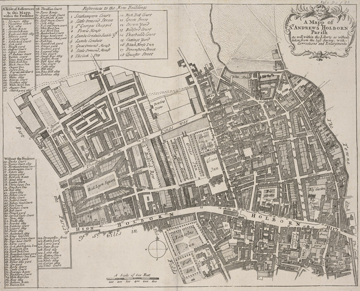 1720 map of holborn parish
