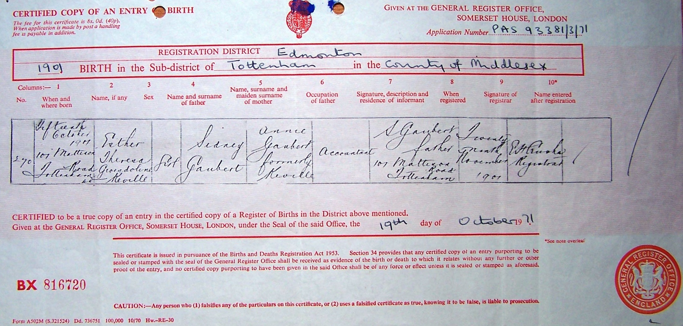 Gaubert certificates of births christeningsbaptisms marriages esther birth 1901 aiddatafo Choice Image
